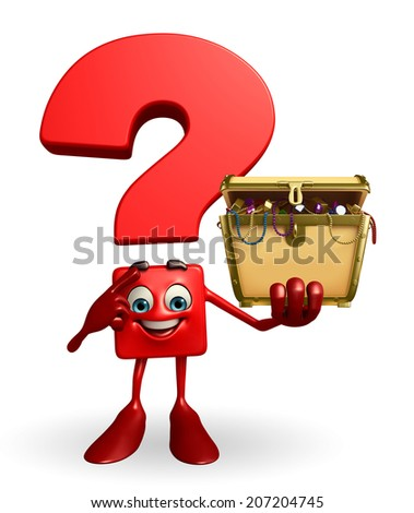 Cartoon Character of Question Mark with treasure box - stock photo