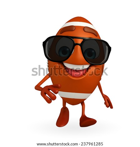 Cartoon Character of rugby ball with running pose - stock photo
