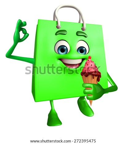 Cartoon Character of shopping bag with icecream - stock photo