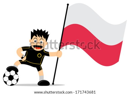 cartoon character of soccer player with flag