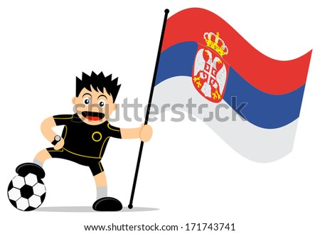 cartoon character of soccer player with flag - stock photo