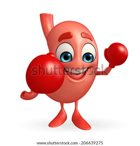 Cartoon Character of stomach with boxing gloves - stock photo