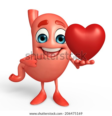 Cartoon Character of stomach with heart