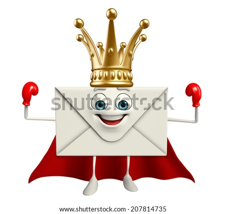 Cartoon Character of Super mail with crown   - stock photo