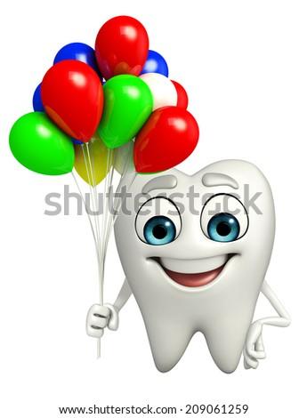 Cartoon character of teeth with Balloon - stock photo