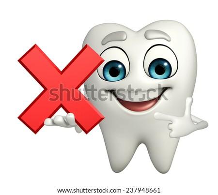 Cartoon character of teeth with cross sign - stock photo