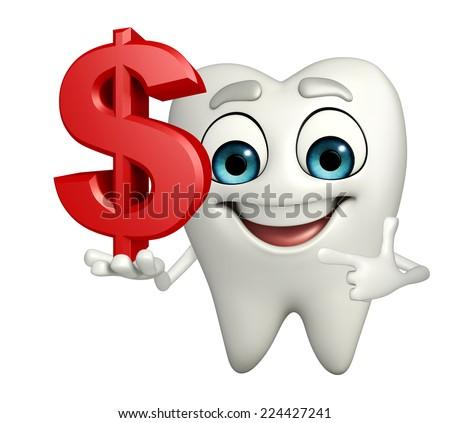 Cartoon character of teeth with dollar sign - stock photo