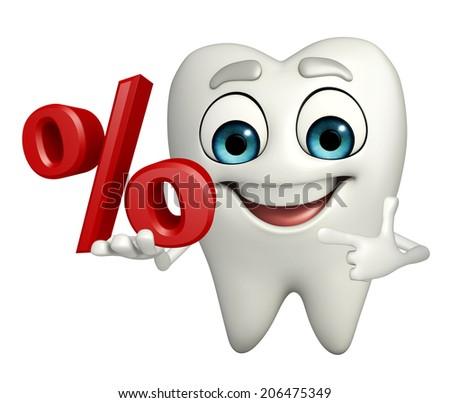 Cartoon character of teeth with Percentage - stock photo
