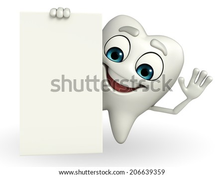 Cartoon character of teeth with sign