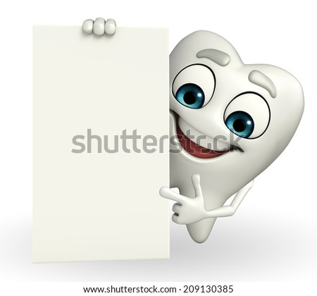 Cartoon character of teeth with sign  - stock photo
