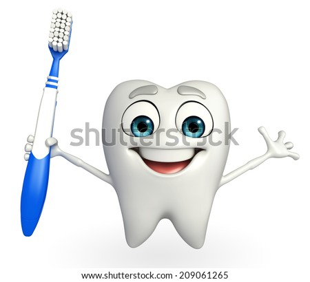 Cartoon character of teeth with tooth brush - stock photo