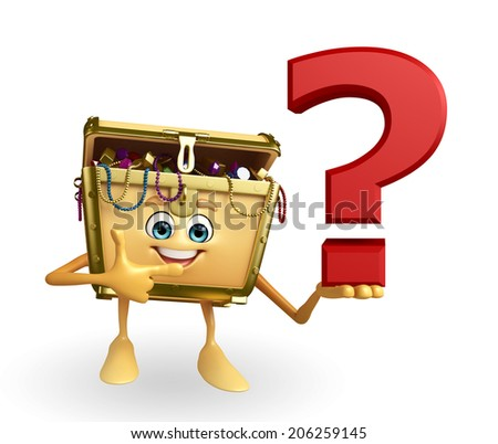 Cartoon Character of Treasure box with question mark sign - stock photo