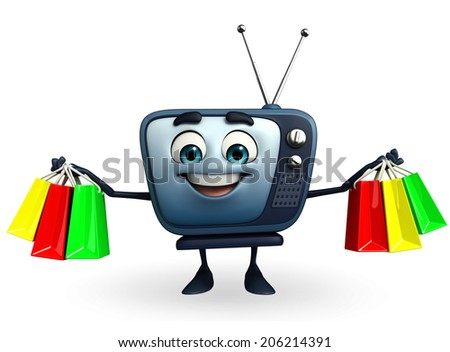 Cartoon Character of TV with shopping bag - stock photo