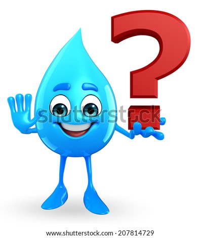 Cartoon Character Of Water Drop with question mark sign - stock photo