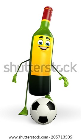 Cartoon character of wine bottle - stock photo