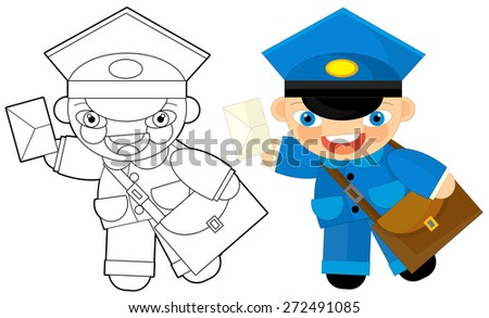 Cartoon character - postman - coloring page - illustration for the children - stock photo