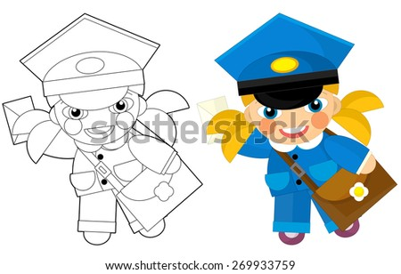 Cartoon character - postman girl - with coloring page - illustration for the children - stock photo