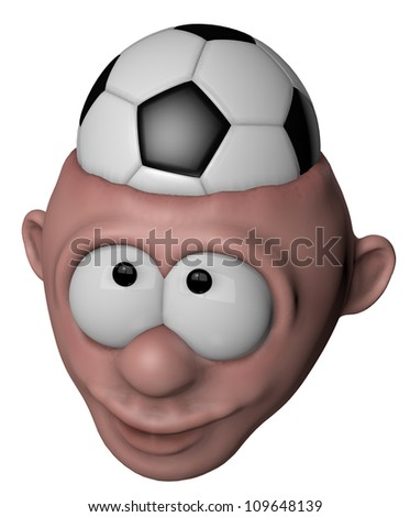 cartoon character with soccer ball in his head - 3d illustration - stock photo