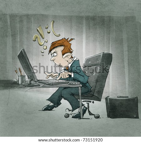 cartoon character working at the computer - stock photo