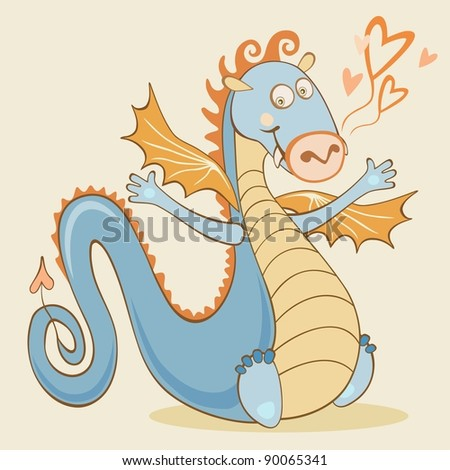 Cartoon cheerful dragon. 2012 symbol. For vector version see image id 89672845 - stock photo