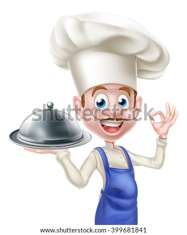 Cartoon chef character holding a platter or cloche and giving an okay or perfect food chef gesture - stock photo