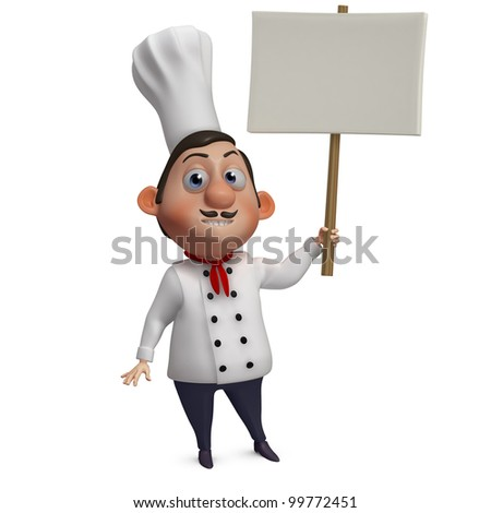 cartoon chef holding a empty placard
