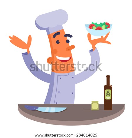 Cartoon chef holding plate with salad - stock photo