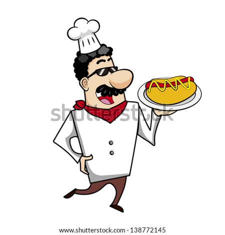 Cartoon chef with hot dog illustration.