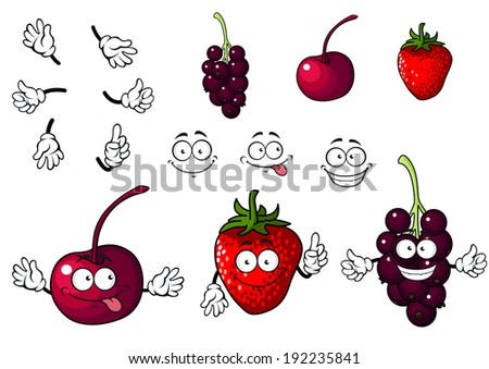 Cartoon cherry, strawberry and blackberry fruits isolated on white background. Vector version also available in gallery - stock photo
