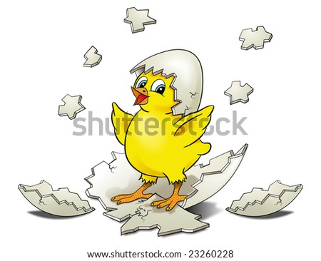 Cartoon Chicken Hatching surrounded by shell pieces on a white background - stock photo