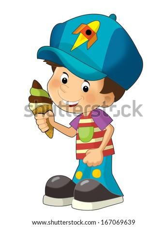 Cartoon child having fun - illustration for the children  - stock photo