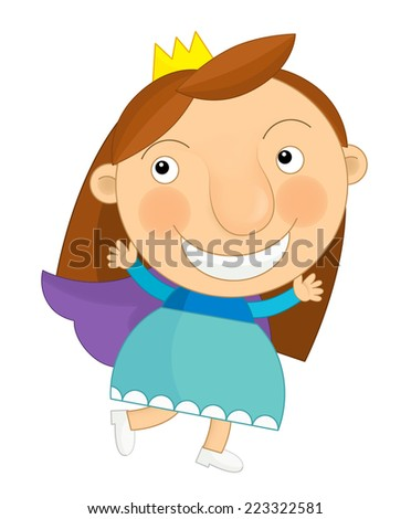 Cartoon child - princess - illustration for the children - stock photo