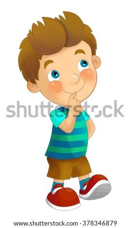 Cartoon child standing - having fun - isolated - illustration for the children - stock photo