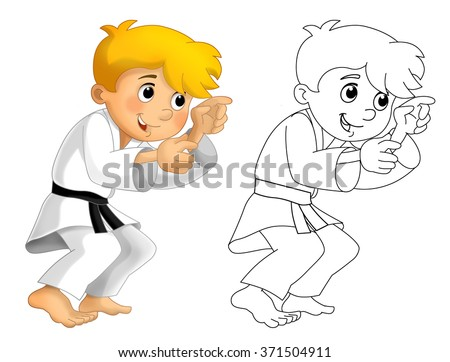 Cartoon child training - coloring page - isolated - illustration for the children - stock photo