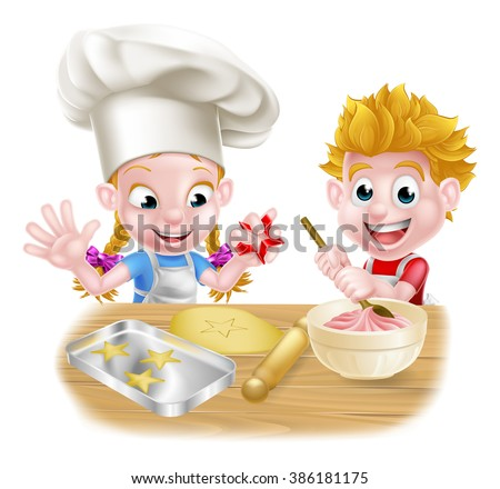 Cartoon children baking and cooking as chefs in the kitchen