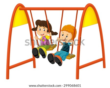 Cartoon children on the swing - illustration for the children - stock photo
