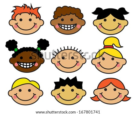 Cartoon children's faces different nationalities on a white background - stock photo