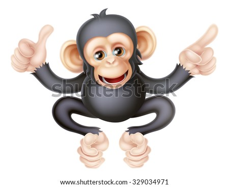 Cartoon chimp monkey like character mascot giving a thumbs up and pointing - stock photo
