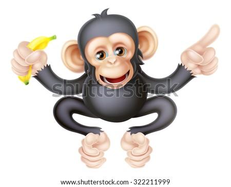 Cartoon chimp monkey like character mascot holding a banana and pointing - stock photo