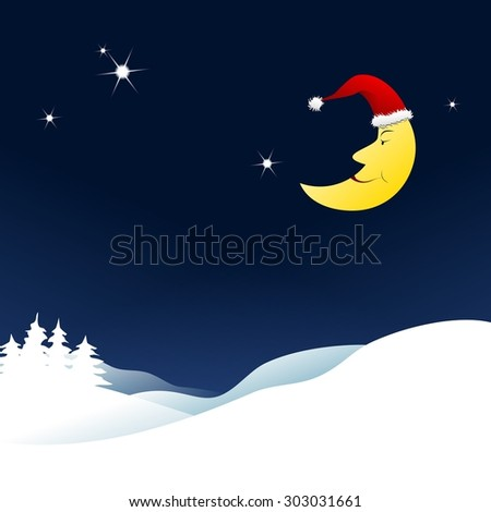 Cartoon Christmas background, moon with Santa Claus hat over a snowy landscape