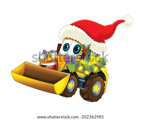 Cartoon christmas car - illustration for the children - stock photo