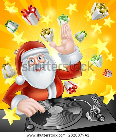 Cartoon Christmas Santa Claus DJ at the record decks with Christmas gift presents in the background - stock photo