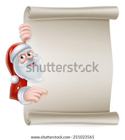 Cartoon Christmas Santa scroll sign of Santa Claus pointing at a scroll banner - stock photo
