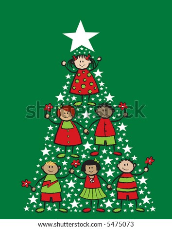 cartoon christmas tree kids (raster) - stock photo