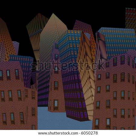 Cartoon city at night - stock photo