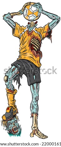 Cartoon clip art illustration of a decayed zombie soccer player who has confused the ball for his missing head. - stock photo