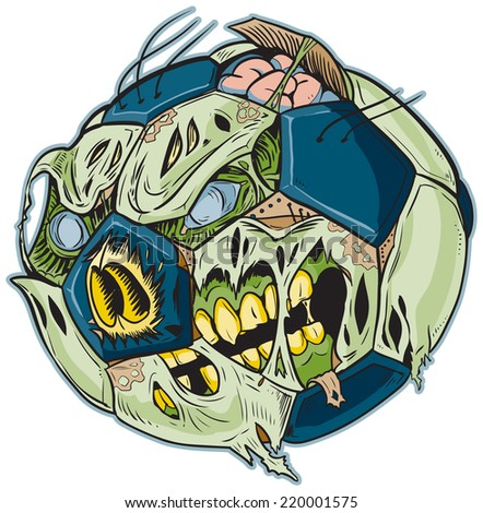 Cartoon clip art illustration of a Zombie Soccer Ball!  - stock photo