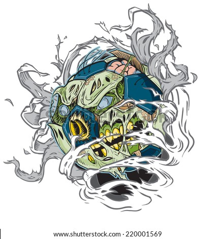 Cartoon clip art illustration of a Zombie Soccer Ball Ripping out of the Background!  - stock photo