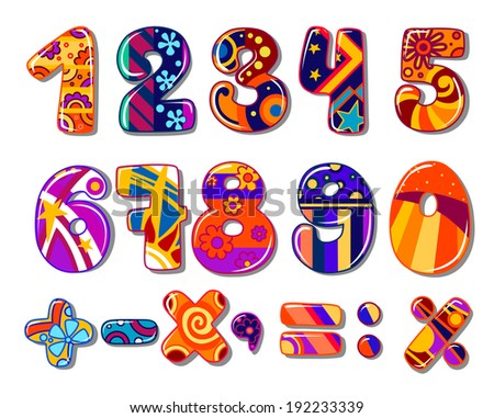 Cartoon colorful school numbers for mathematics or another childish design. Vector version also available in gallery - stock photo