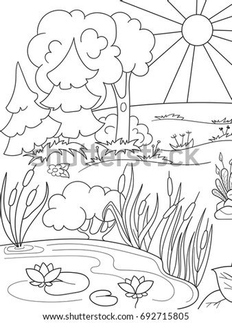 Cartoon Coloring Book Black And White Nature Glade In The Forest With Plants Raster